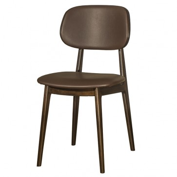 Lunar Side Chair Brown Faux Leather