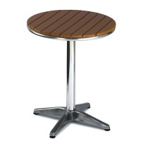 Outdoor Table Aluminium Base & Slatted Plastic Teak Top
