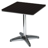 Outdoor Table Aluminium Base & Slatted Plastic Black Top