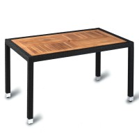 Outdoor Four Leg Black Weave Table 140cm x 80cm Square Teak Solid Wood Top