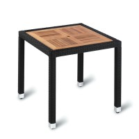 Outdoor Four Leg Black Weave Table 80cm Square Teak Solid Wood Top