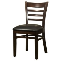 Dallas Walnut Side Chair With Black Faux Leather Seat