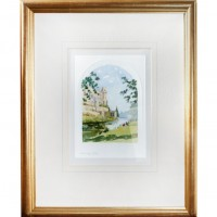 Gold Framed Warwick Castle Watercolor-Look Pictures