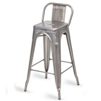 Eiffel High Stool with Back - Gunmetal