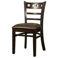 Enzo Walnut Side Chair With Dark Brown Faux Leather Seat