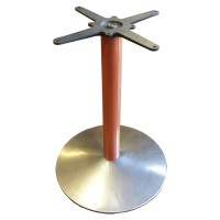 Used table base, round brushed stainless steel column with wood pedestal, dining height