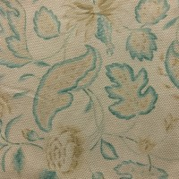 Used Curtain Pair Beige Curtain with Floral Pattern & Pelmet
