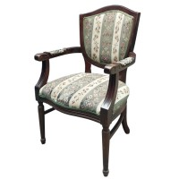 Traditional arm chair with upholstered seat and back