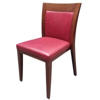 Red faux leather wooden stacking chair