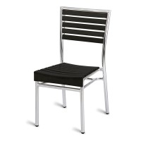 Paphos Outdoor Slatted Side Chair Dark