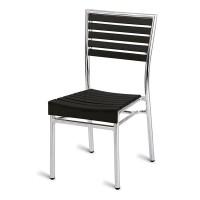 Paphos Outdoor Slatted Side Chair Dark