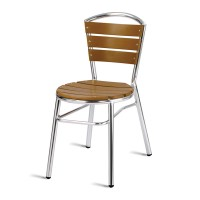 Paphos Outdoor Slatted Side Chair Round, Teak Effect