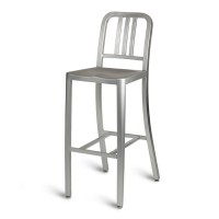 Navy High Stool Chair - Anodized Aluminium