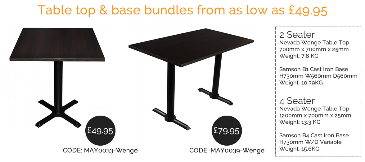 restaurant table top and base bundles