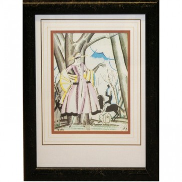 Black & Gold Framed Abstract Couple In Forest Picture