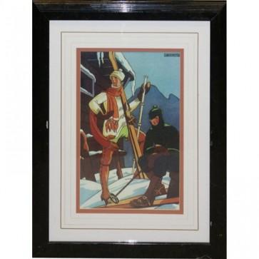 Black & Gold Framed Ski Lodge Picture