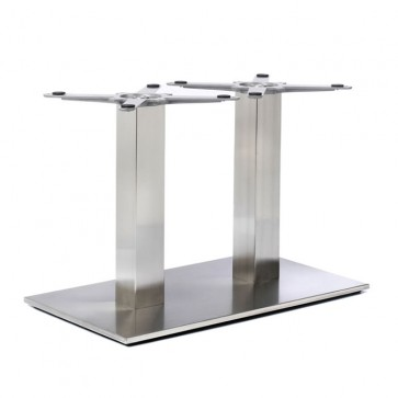 Fleet - Coffee Height Rectangle Twin Table Base (Square Column)