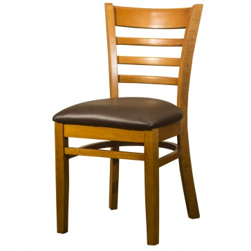 Dallas Cherry Side Chair With Dark Brown Faux Leather Seat