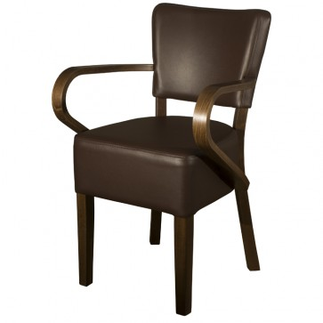 Belmont Brown Faux Leather Arm Chair