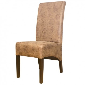 Vintage Restaurant Faux Leather Chair With Scroll Back - Front View