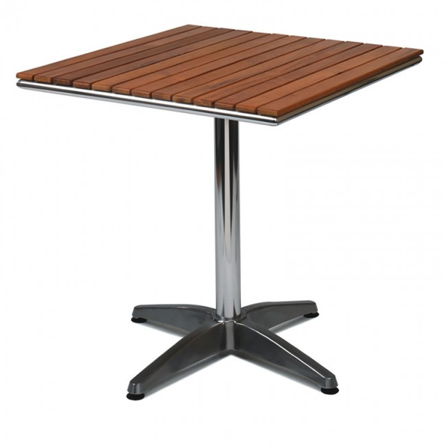 Outdoor Table Aluminium Base Teak Solid Wood Top - Teak and aluminium outdoor table