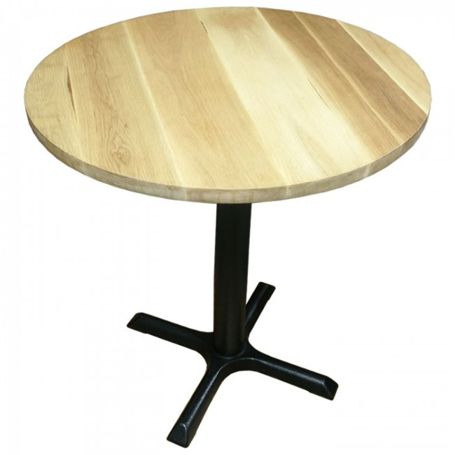 Used Display Tables ~ Ex display solid wood table with cast iron base cm round