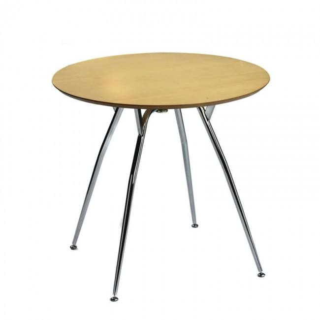 Maple Veneer Four Leg Table Small Round