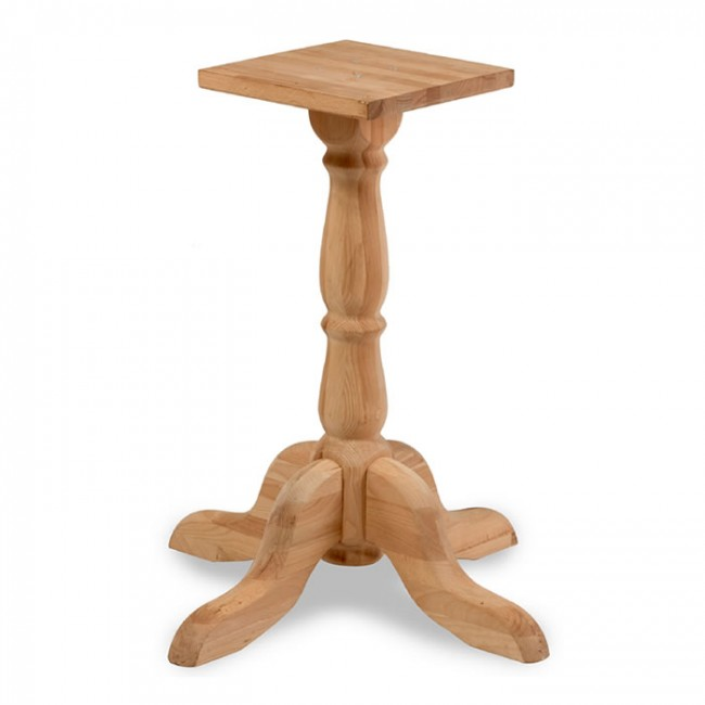 Raw Solid Beech Table Base Small