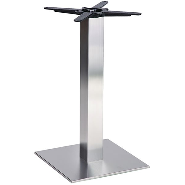 Danilo Brushed Stainless Steel Square Dining Height Table Base Small