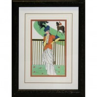 Black & Gold Framed Woman At The Racecourse Picture