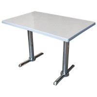 Used Complete Chrome Table With Werzalit Table Top 110x70cm