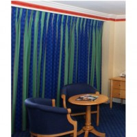 Blue And Green Black Outlined Contract Curtains
