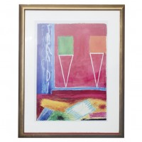 Gold Picture Frame Abstract Art Red