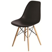 Designer Side Chair - Black Seat Natural Leg