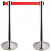 Stainless Steel Retractable Red Tape Barrier Post