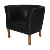 Britta Tub Chair - Black Faux Leather