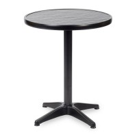 Outdoor Table Aluminium Base & Black Wood Effect Top