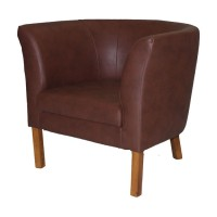 Britta Tub Chair - Brown Faux Leather