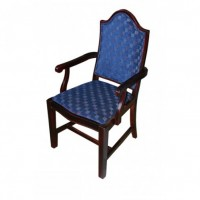 Luxury Refurbished Mahogany Checkered Arm Chair