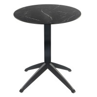 Black Marble Table with Braga Flip-top Base - Outdoor