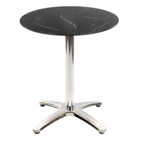 Black Marble Table with Aluminium Base - Outdoor