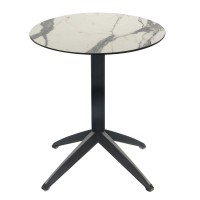 White Marble Table with Braga Flip-top Base - Outdoor