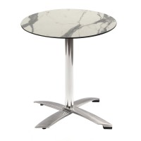 White Marble Table with Alu Flip-top Base - Outdoor