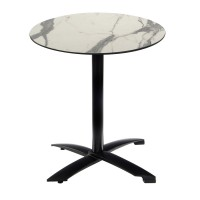White Marble Table with Black Alu Flip-top Base - Outdoor