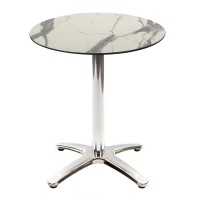 White Marble Table with Aluminium Base - Outdoor