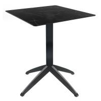 Black Marble Table with Braga Flip-top Base - Outdoor