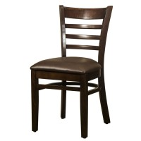 Dallas Walnut Side Chair With Dark Brown Faux Leather Seat