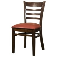 Dallas Walnut Side Chair With Red Faux Leather Seat
