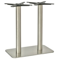 Dice Brushed Stainless Steel Rectangle Dining Height Table Base