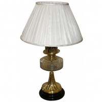 Gold Oil Burner Look Lamp with Luxury Silk Shade